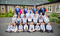 Innerleithen Dux Boy, Dux Girl, Lantern Bearer, sash girls and monks with the 2015 principals