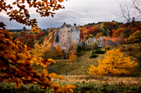 Neidpath Castle surrounded by autumnal colours